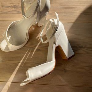 Zara Patent Peep Toe Heeled Sandals White